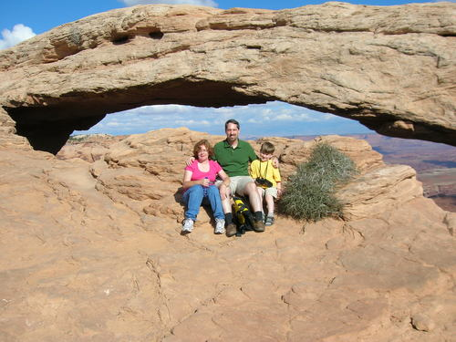 The three of us in front of Mesa Arch
