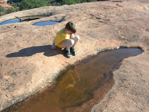 Liam looking at a pothole near Upheaval Dome overlook